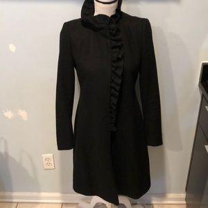 DKNY Black Long Wool Lined Ruffle Collar Jacket 2